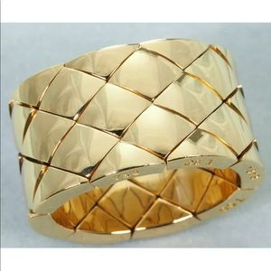 Auth CHANEL Matelasse 18KT Gold Woven Wide Ring